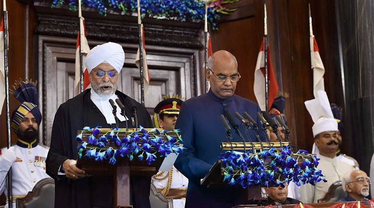 New Delhi: Ram Nath Kovind being sworn-in as the 14th President of India by the Chief Justice of India, Justice JS Khehar at a special ceremony in the Central Hall of Parliament in New Delhi on Tuesday. PTI Photo by Shahbaz Khan  (PTI7_25_2017_000070A)