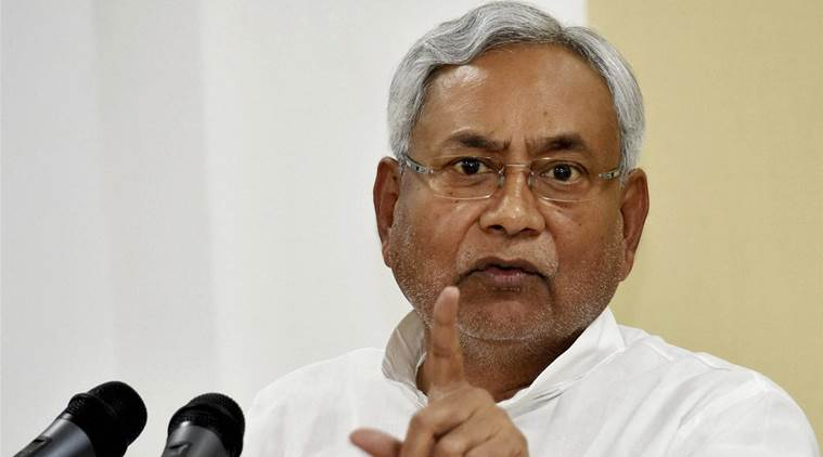 Patna: Bihar Chief Minister Nitish Kumar addressing a press conference in Patna on Monday. PTI Photo (PTI7_31_2017_000150A)