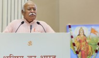 New Delhi: RSS chief Mohan Bhagwat speaks on the 2nd day at the event titled 'Future of Bharat: An RSS perspective', in New Delhi, Tuesday, Sept 18, 2018. (PTI Photo) (PTI9_18_2018_000191B)