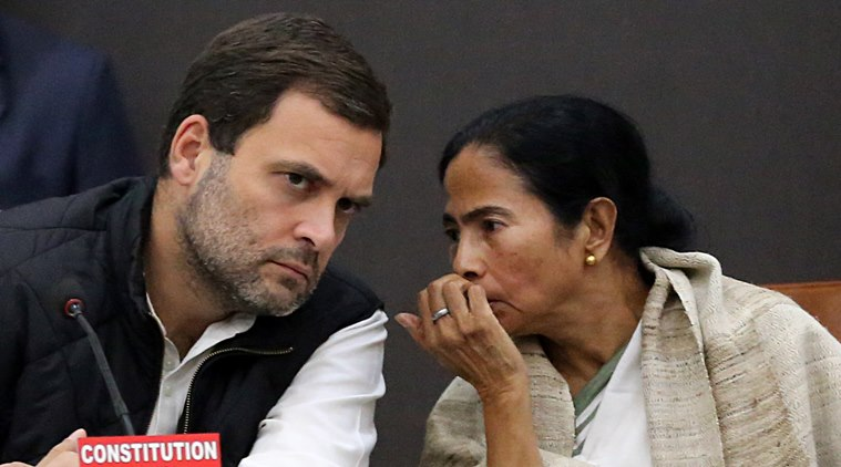 New Delhi: Congress Vice President Rahul Gandhi and West Bengal Chief Minister Mamata Banerjee during joint press conference  in New Delhi on Tuesday. The INC and the Trinamool with other coalition has formed an opposition to protest and fight against PM Narendra Modi on the issue of demonetisation asking for his resignation after they deemed that the scheme had miserably failed. Express Photo by Tashi Tobgyal New Delhi 27271216