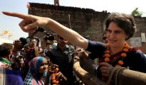 Priyanka Gandhi holds during campaign for her brother and Congress candidate from Amethi Rahul Gandhi at a village in Amethi , on April 29th 2014.  Express photo by Ravi Kanojia.