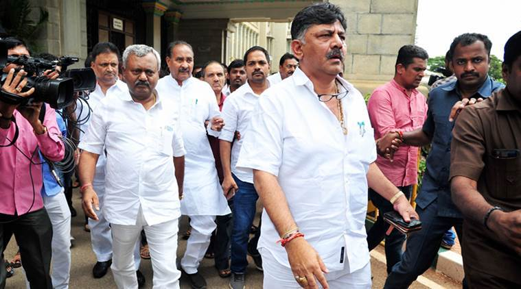 Bengaluru: Karnataka Minister D K Shivakumar at the Vidhanasoudha to meet the dissident MLA's of Congress and JD(S) in Bengaluru, Saturday, July 6, 2019. 11 legislators of the ruling alliance submitted their resignation to speaker's office. (PTI Photo/Shailendra Bhojak) (PTI7_6_2019_000136A)