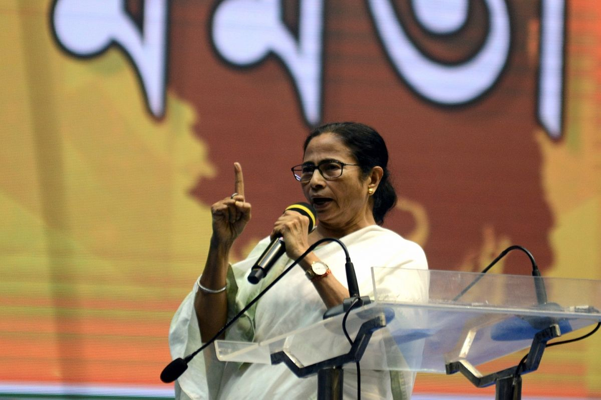 Kolkata: West Bengal Chief Minister and Trinamool Congress (TMC) supremo Mamata Banerjee addresses during the launch of her party's campaign 'Banglar Garbo Mamata' ahead of Municipal and Assembly elections across the state, in Kolkata on March 2, 2020. (Photo: IANS)