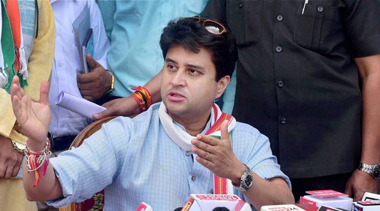 Bhopal: Former Union Minister and Congress MP Jyotiraditya Scindia addressing a press conference during his visit to Bhopal on Wednesday. PTI Photo(PTI9_7_2016_000055A) *** Local Caption ***