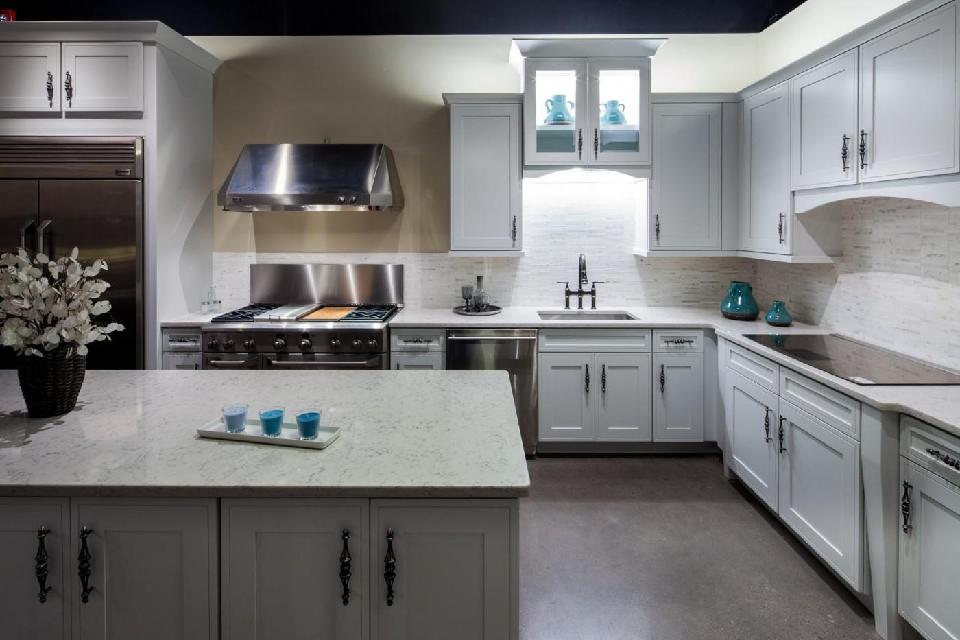 newviewgranite quartz kitchen countertops 3cm Silestone Kitchen with Pencil edge