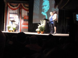 Elizabeth Ashley, Chris Ebersole (left) and Candice Bergen, Angelica Houston (right) read famous Gore Vidal one-liners at a noon-time tribute to the writer at the Schoenfeld Theatre today. Vidal died July 31 in Los Angeles at 86.