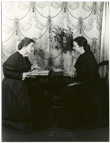Dorothy Dow as Susan B., Belva Kibler as Anne in Virgil Thomson's The Mother of Us All : scene I. May 14, 1947.