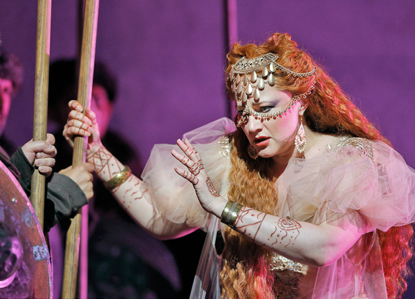 Cassandra (Maria Litka) prophesies. Photo Cory Weaver.