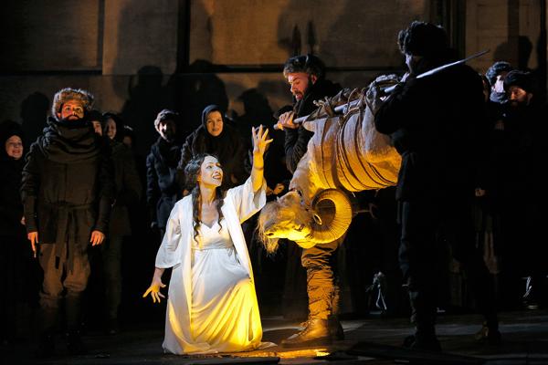 Clytemnestra (Liuba Sokolova) sacrifices a ram in Taneyev's Oresteia at Bard. Photo Cory Weaver.