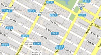 Interaktívna mapa hotelov v New Yorku