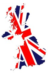 Flag on Britain Map