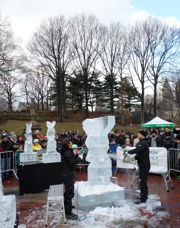 Central Park Ice Festival sculpting