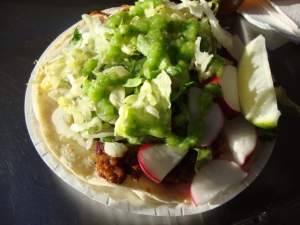 taco with chorizo
