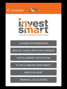 Menu of InvestSmart Mobile App