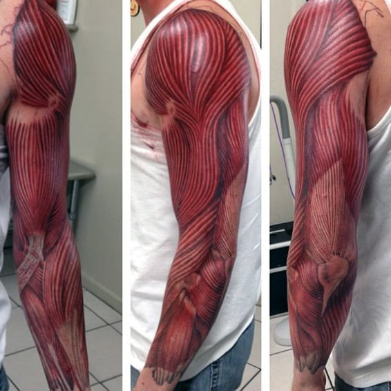 Pintura Body Paint 70 Muscle Tattoo Designs For Men - Exposed Fiber Ink Ideas