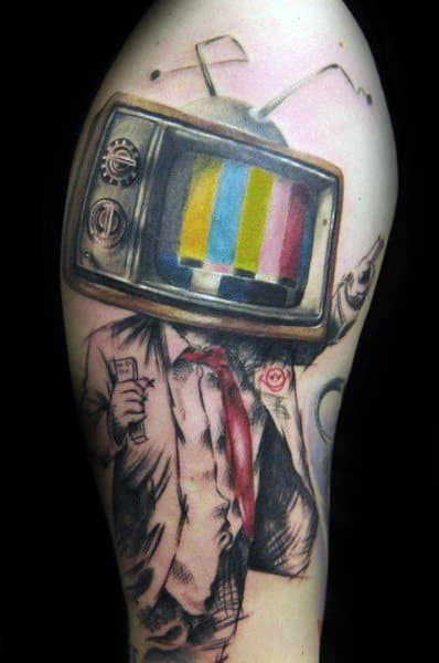 Window Design With Screen 40 Tv Tattoos For Men - Television Set Design Ideas
