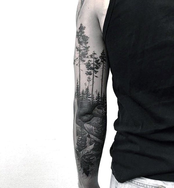 100 Forest Tattoo Designs For Men Masculine Tree Ink Ideas - Wald Tattoo