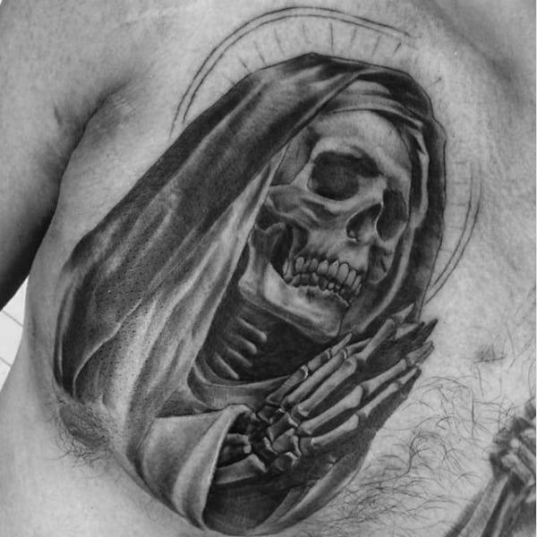 Angel Girl And Skulls Wallpaper 100 Religious Tattoos For Men Sacred Design Ideas