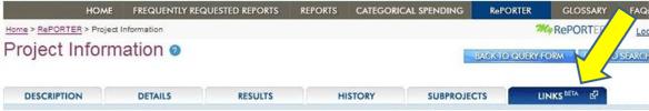 screenshot of links tab in reporter