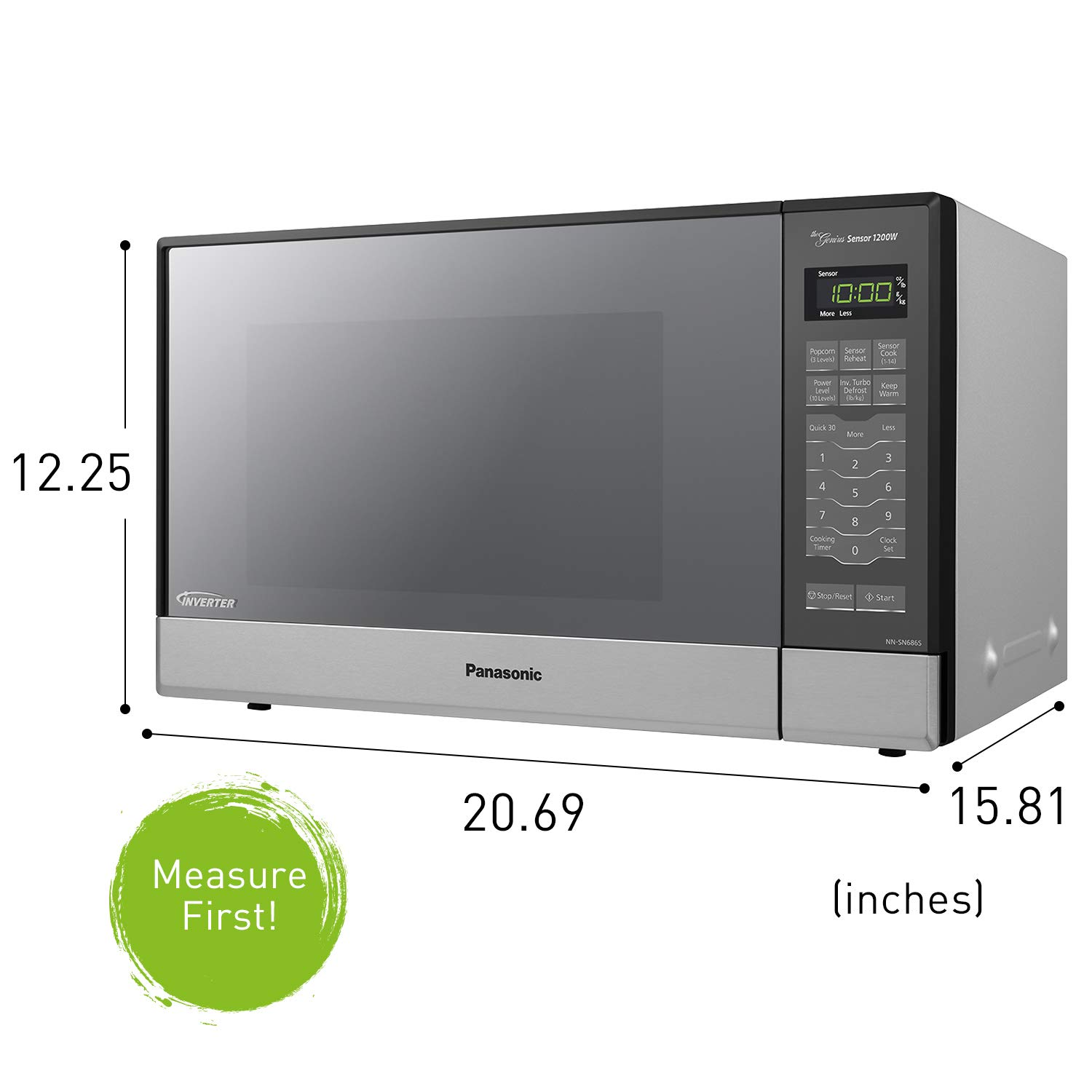 Panasonic Nn Sn686s 1200w Countertop Microwave Oven 1 2 Cu Ft Silver Nezmart