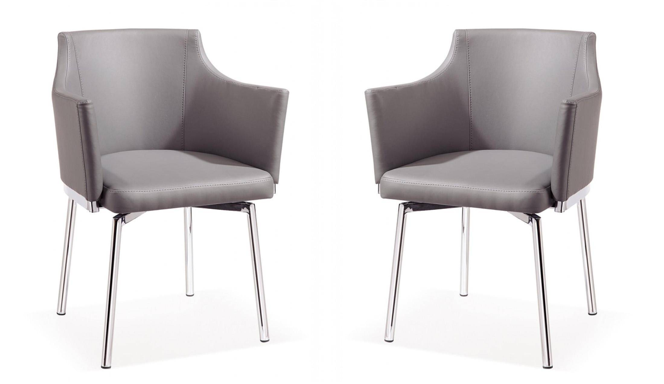 Buy Vig Modrest Kaweah Dining Arm Chair 2 Pcs In Gray Leatherette Online