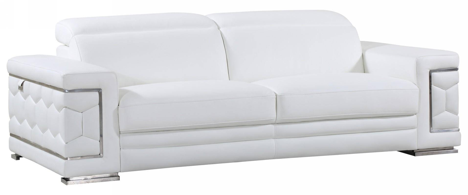 Buy Global United U692 White Sofa Set 3 Pcs In White Genuine Leather Online