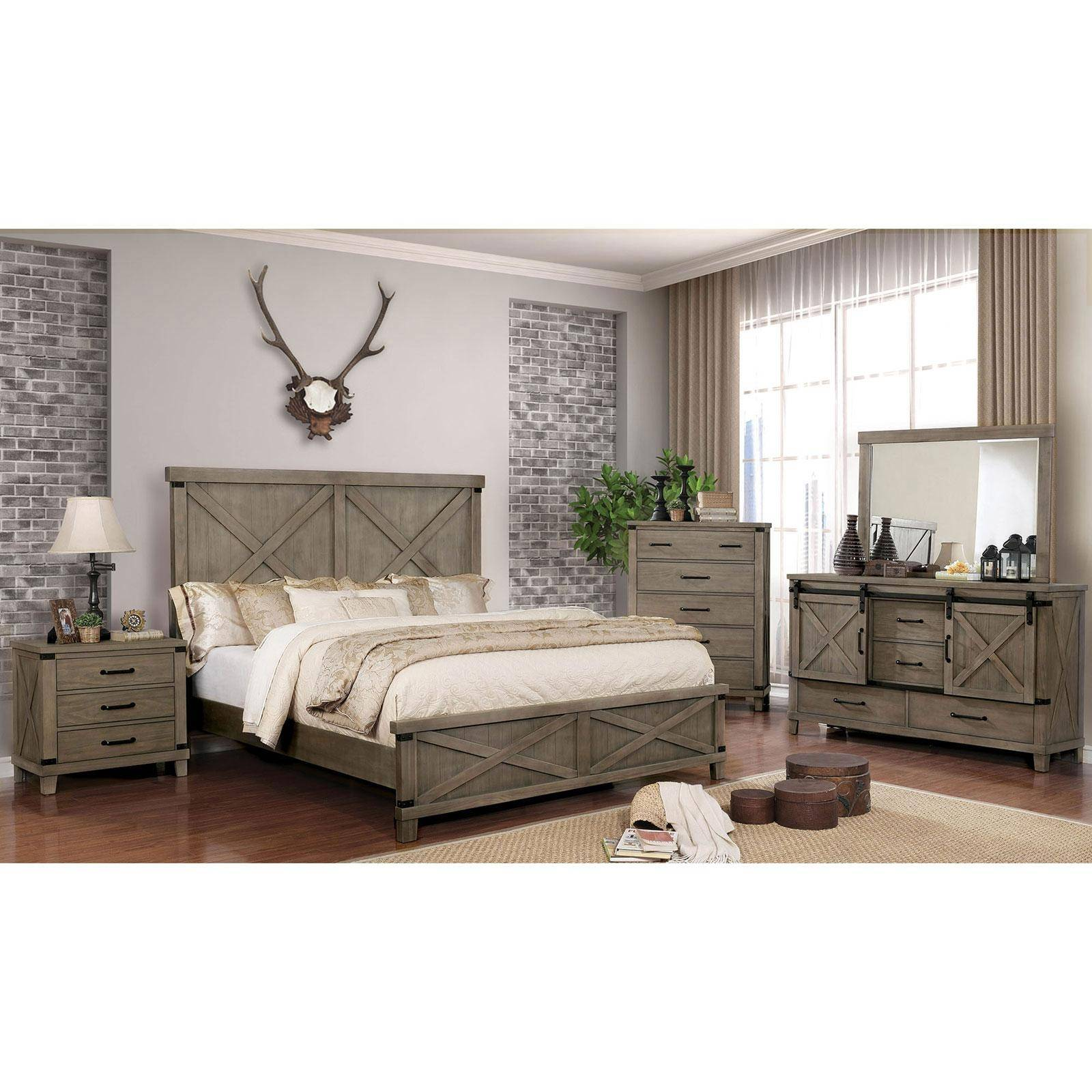 Buy Furniture Of America Bianca California King Panel Bedroom Set 4 Pcs In Gray Matte Lacquer Online