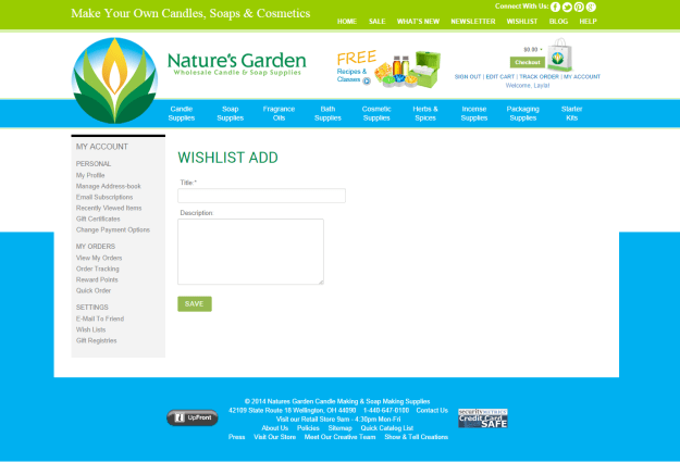 wishlist add page on NG site