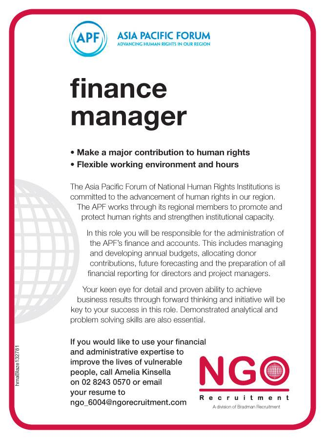 NGO Recruitment Finance Manager and Administration - NGO Recruitment - financial manager job description