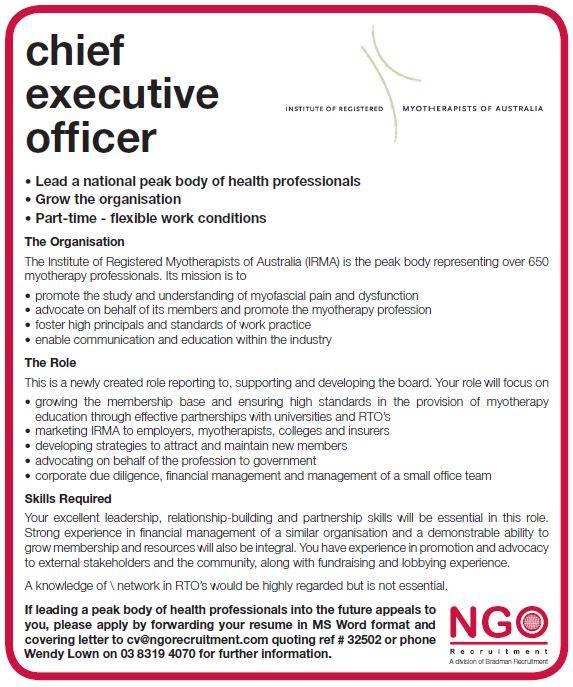 charity chief executive job description - Intoanysearch - chief executive officer job description