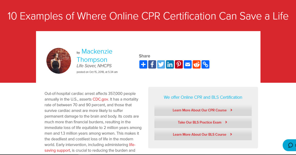 10 Examples of Where Online CPR Certification Can Save a Life