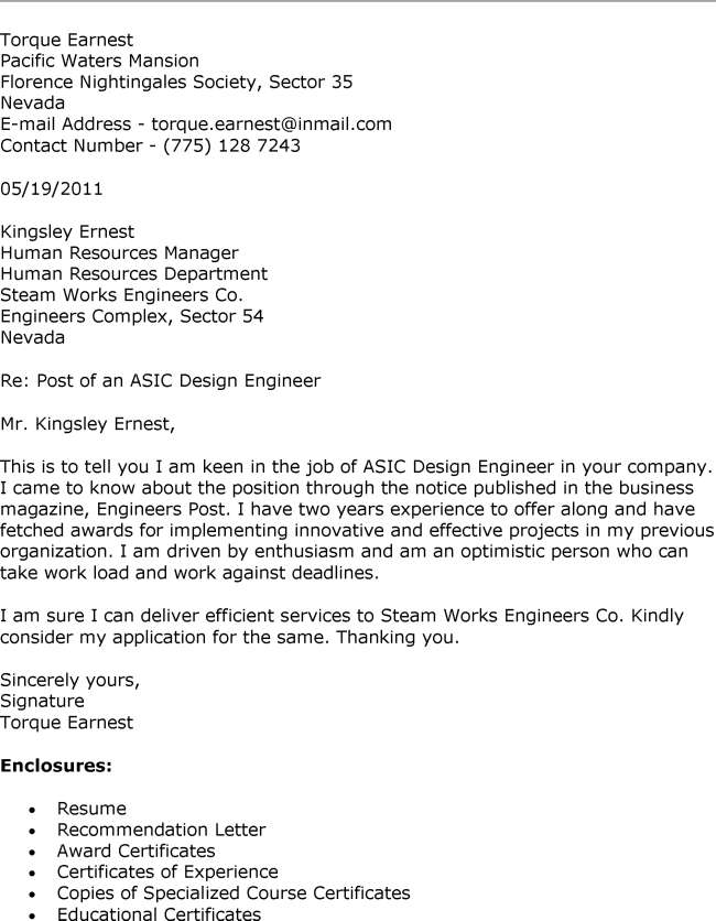 ... Asic Design Engineer Cover Letter And Cover Letter Design   Analog  Design Engineer Cover Letter ...