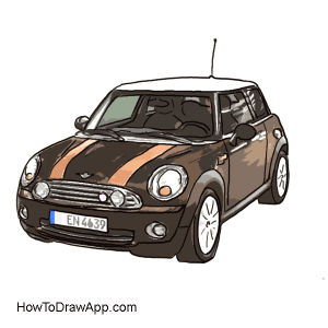 how to draw a mini cooper car