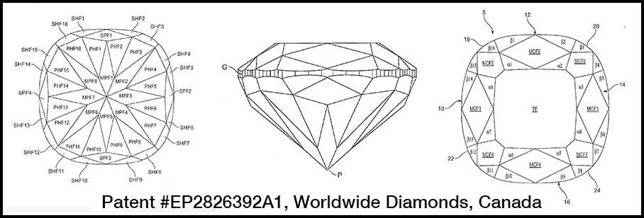 Facet design for hearts and arrows cushion cut diamond, Worldwide