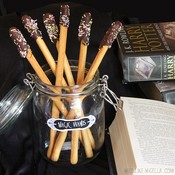 Harry Potter Party food: Chocolate Wands and Exploding Chocolate Frogs