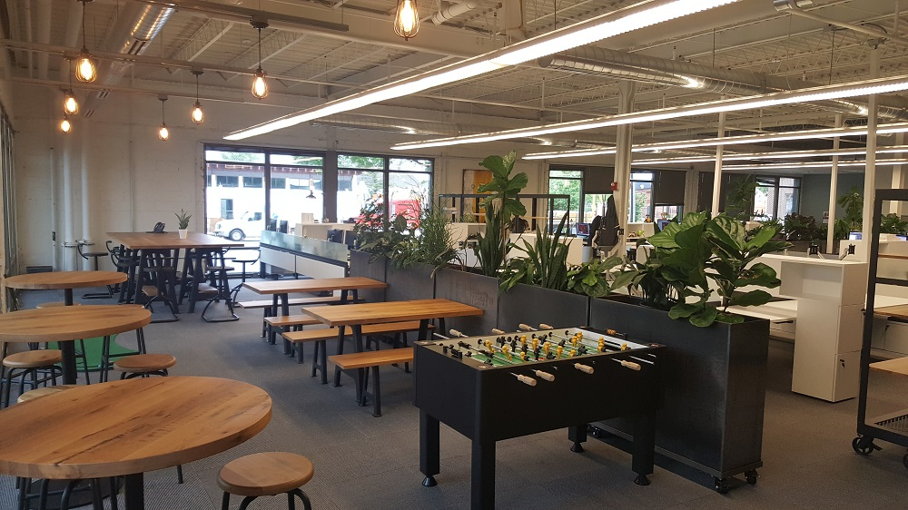 Open floor plan with extra tall Nice planters on casters as