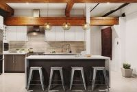 Kitchen Island Pendant Lighting in an Urban-Inspired Penthouse