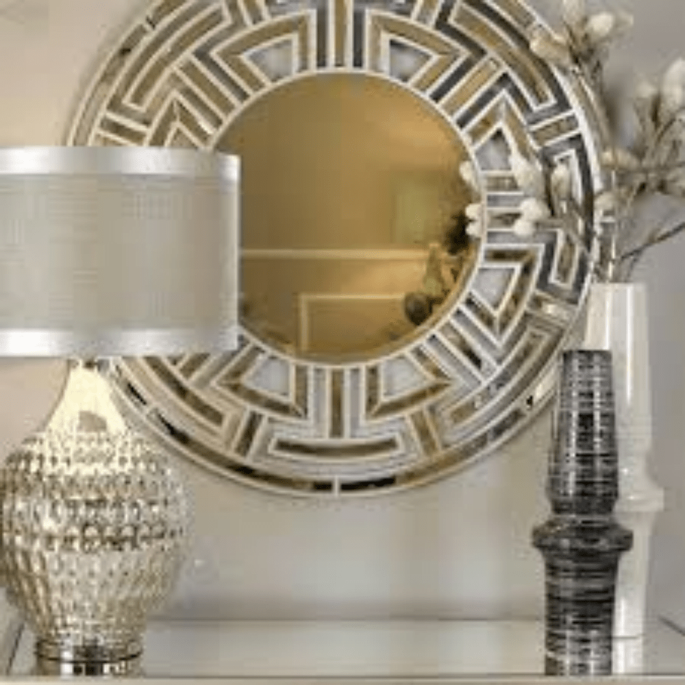 Art Deco Style Mirror Aztec Art Deco Champagne Round Wall Mirror
