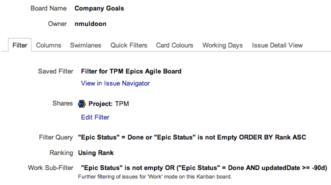 GreenHopper Kanban board configuration for visualizing epics