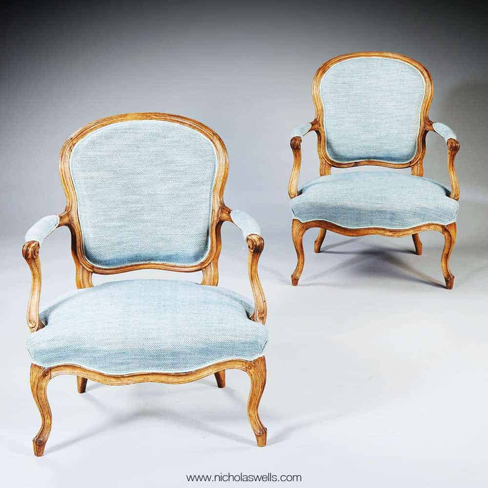 Pair Of French Louise Xv Rococo Fauteuils Stamped Pothier Nicholas Wells Antiques Ltd Antique Dealers London