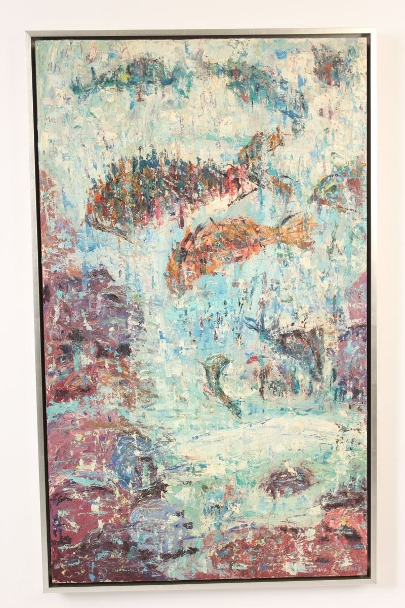 Contemporary Abstract Painting Contemporary Abstract Painting With Fish