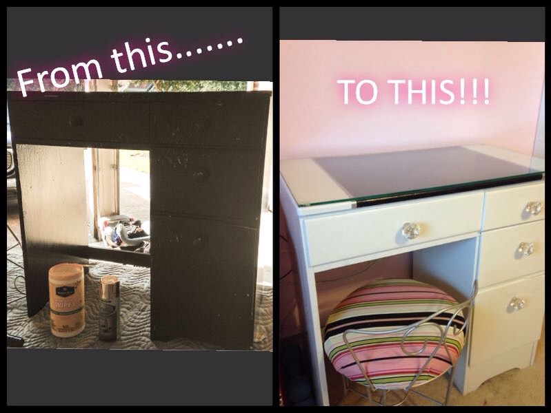Thrift Store Sad Little Desk to Chic Little Teenage Vanity.