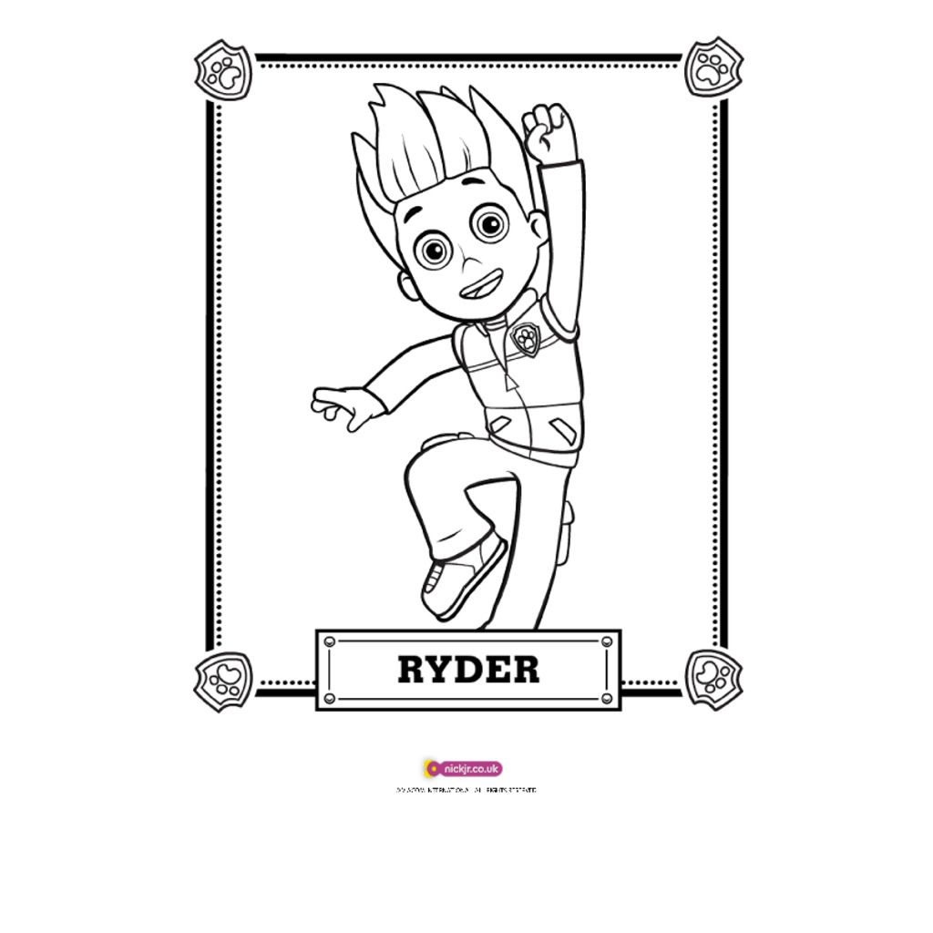 Paw Patrol Ryder Coloring Page Costumepartyrun