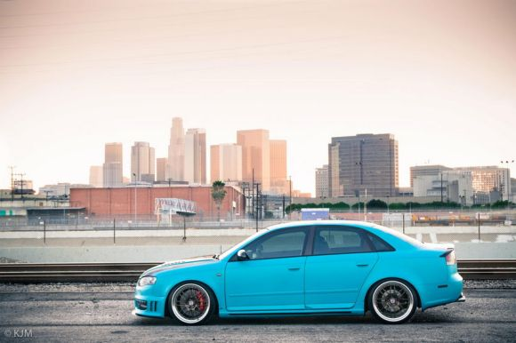 Matte Turquoise Audi A4 on HREs