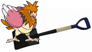 pokemon go pidgeotto sits on a shovel