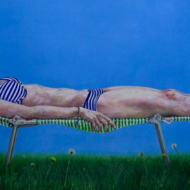 "Christine Sunbathing #1 - 32""x80"" - oil on board"