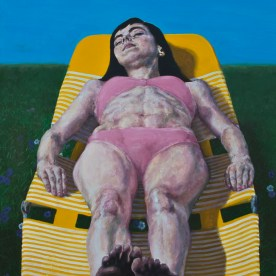"Christine Sunbathing #2 - 72""x32"" - oil on board"