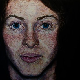 "Study of Kellen's Freckles - 48""x48"" - oil on board"