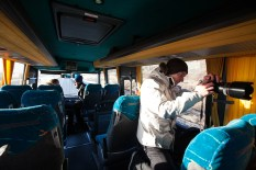 Behind the scenes on the Reyka Golden Circle Excursion bus
