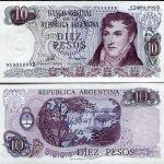 ARGENTINA 10 PESOS 1976 P 300 UNC LOT